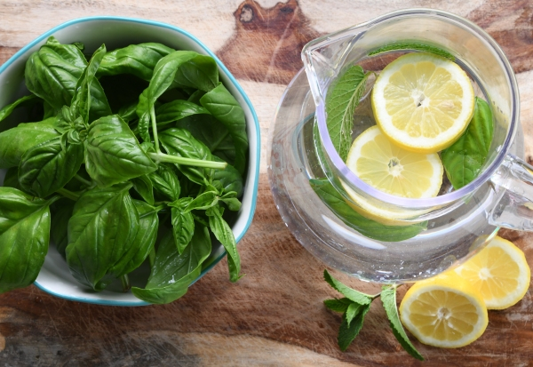 basil mint lemon water